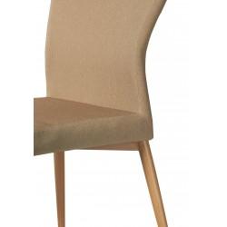Silla clásica con estructura de madera y tapizada en color arena 4 UNIDADES.