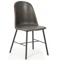 Pack de 2 sillas Vesta de simil piel Gris oscuro -Teja
