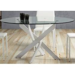 Mesa redonda cristal pata cruzada blanco de 120 cm