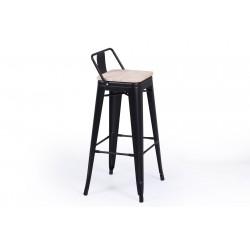Taburete alto Paris asiento madera-metal negro