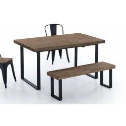 Mesa de comedor de 140x80 cm. extensible de madera de roble americano- negro