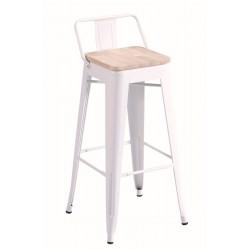 Pack de 4 Taburete alto Paris asiento madera-metal blanco