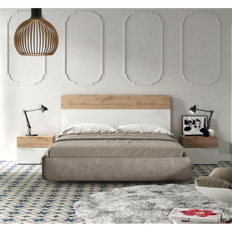 Dormitorio matrimonio con Cabecero 135 cm. y 2 mesillas Blanco brillo / Natural