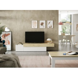 Mueble TV Xenia Lacado blanco - Roble