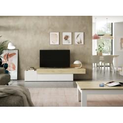 Mueble TV Xenia Lacado blanco - Roble