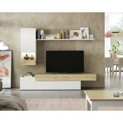 Mueble de salón Xenia Lacado blanco / roble