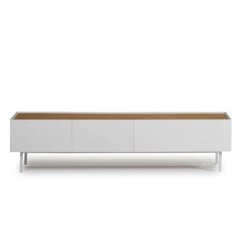 Mueble TV Art Blanco Lacado/Roble y patas metálicas
