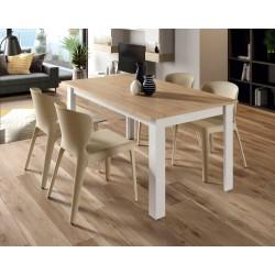 Mesa de comedor Xenia extensible de 140x90 cm. Roble / Blanco Lacado