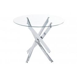 Mesa de comedor redonda Cristal Templado / Cromo de 100 cm.