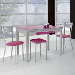 Mesa de Cocina Lana de Cristal Extensible de 90x50 cm. con Cubertero Fucsia