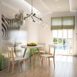 Mesa de Cocina Sabona de 90 cm. Ext. de Madera Texturada Blanca / Patas Natural