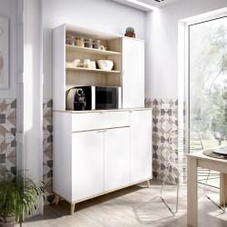 Mueble Auxiliar de Cocina color Blanco/Natural con 4 puertas y cajón