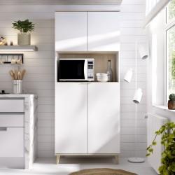 Mueble Auxiliar de Cocina Ada Blanco / Natural con 4 puertas y hueco