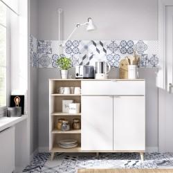 Mueble Auxiliar de Cocina Ada Blanco / Natural con 2 Puertas, Cajón y Estantería