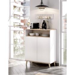 Mueble Auxiliar de Cocina Ada Blanco / Natural con 2  Puertas y Hueco