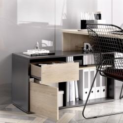 Mesa de oficina Dunia en L Color Roble Natural- Grafito