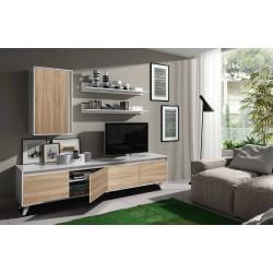 Mueble salón televisión roble y blanco de 200 x 40.7 cm de diseño actual,