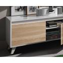 Mueble salón televisión roble y blanco brillo de 200 cm,