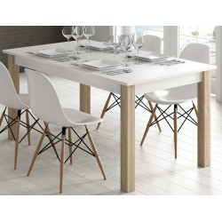 Mesa de comedor extensible de 135X90 en roble blanco / roble natural