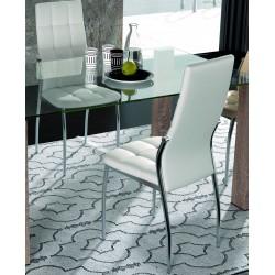 Silla comedor tapizada en polipiel color blanca