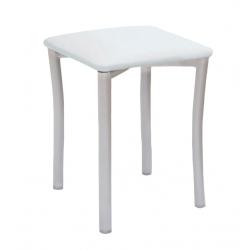 Taburete Pisa Aluminio / Asiento Símil Piel Blanco