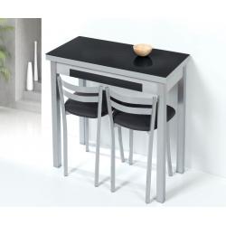 Mesa de Cocina de Cristal Lena de 90x50 Extensible tipo libro con Cajón Negro