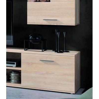 Mueble Salón en roble natural completo con cajonera, vitrina y baldas