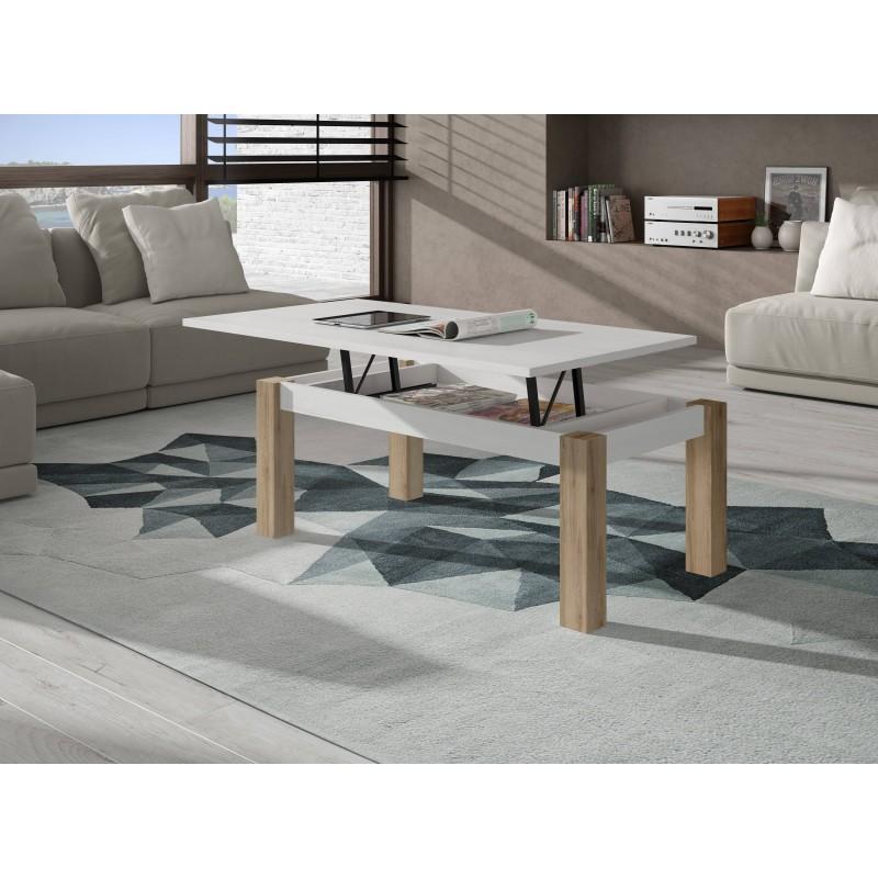 Mesa de centro elevable acabado blanco y roble natural de 100X50 cm.
