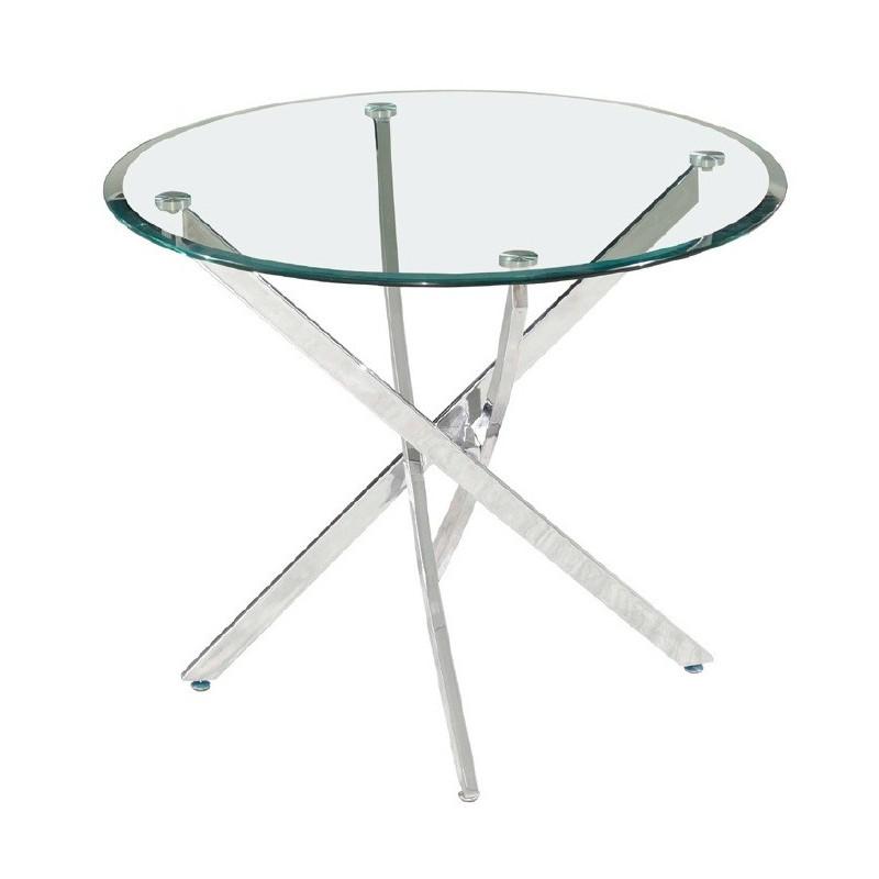 Mesa comedor redonda cristal y cromo.