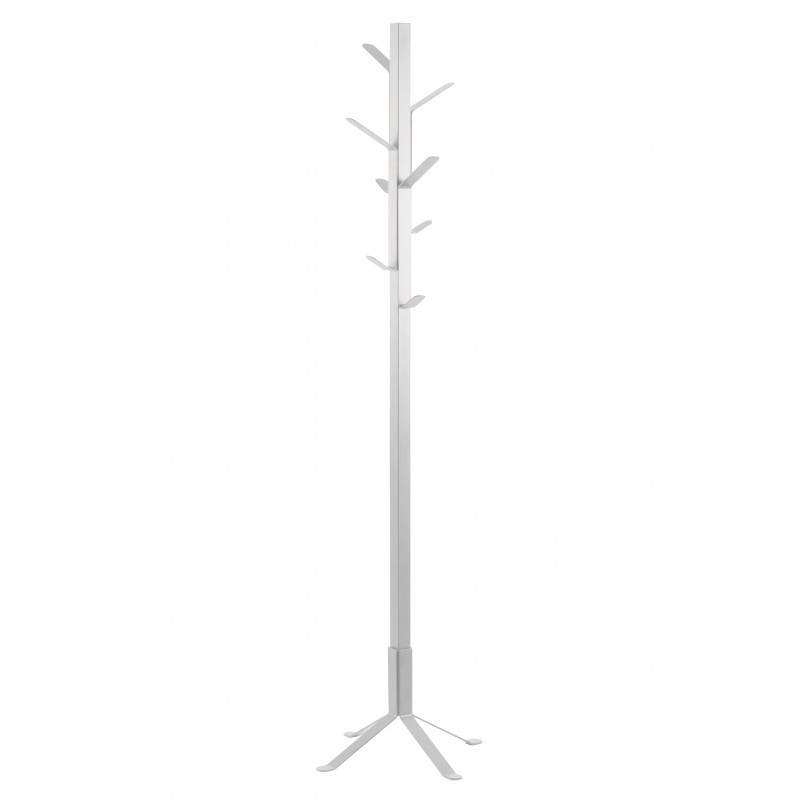 Perchero de pié metálico color blanco funcional , estable de 50x50 y 180de alto