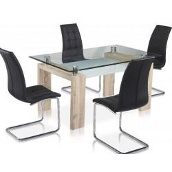 Mesa de comedor cristal y madera de 150x85