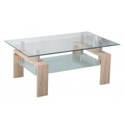 Mesa de centro de cristal con patas acabado cambrai de 100x60