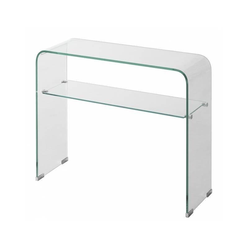 Mesa consola de cristal templado curvo.