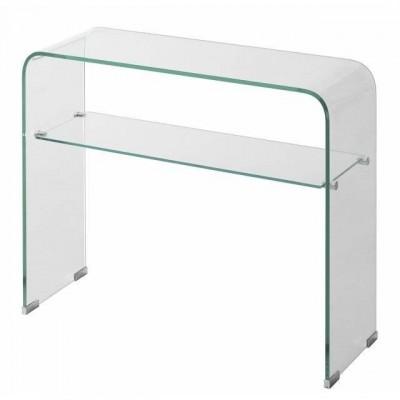 Consola de cristal templado transparente curvo de 91x31 y for Mesa cristal templado ikea