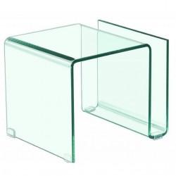 Mesita auxiliar revistero de cristal