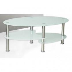 Mesa de centro de cristal ovalada barata pequeña.