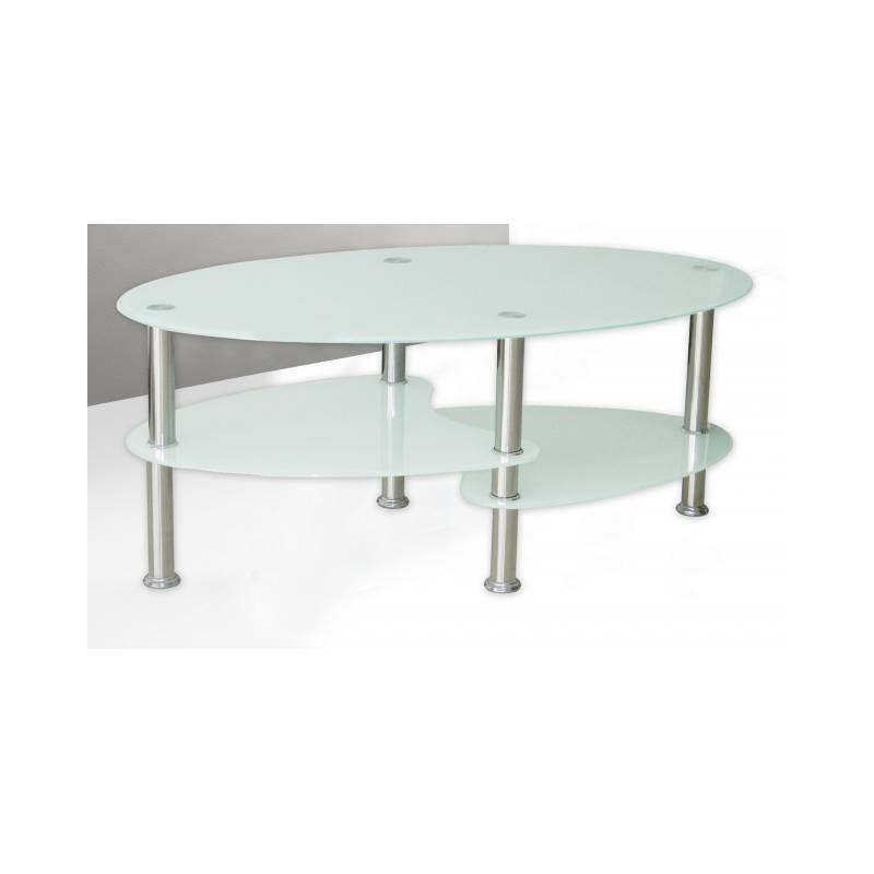 Mesa de centro ovalada de cristal blanco barata - Mesas de centro de cristal baratas ...