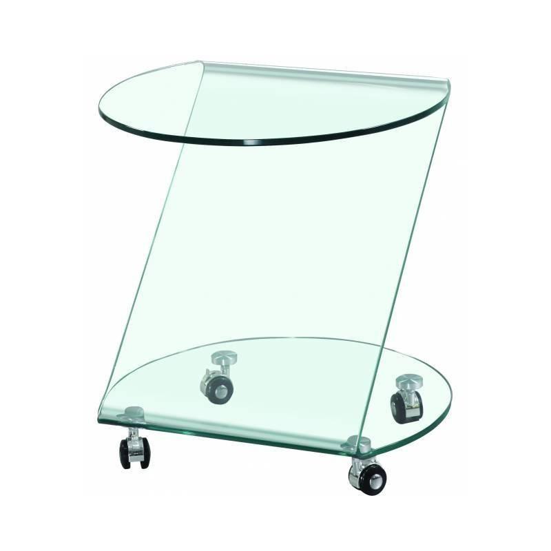 Mesita auxiliar de cristal doblado con ruedas