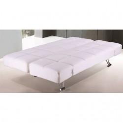 Sof cama clik clak en tela gris clara de 188x85 cm y 90 - Sofa blanco polipiel ...