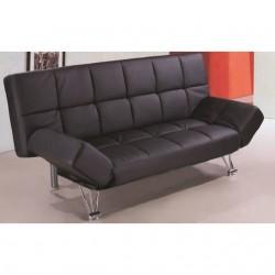 Sofá cama tipo clikclak tapizado en polipiel negra