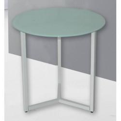 Mesita, mesa auxiliar redonda de 43 cm de diámetro, metal blanco Y tapa cristal blanco
