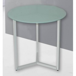 Mesita auxiliar estructura metal blanco tapa cristal blanco