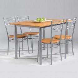 Conjunto mesa de cocina + 4 sillas miel