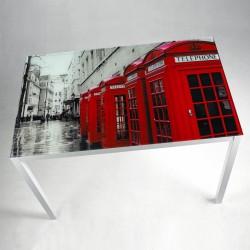 Mesa de cristal serigrafiado British de 110x70
