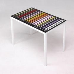 Mesa de cristal serigrafiado codigo de barras de 110x70