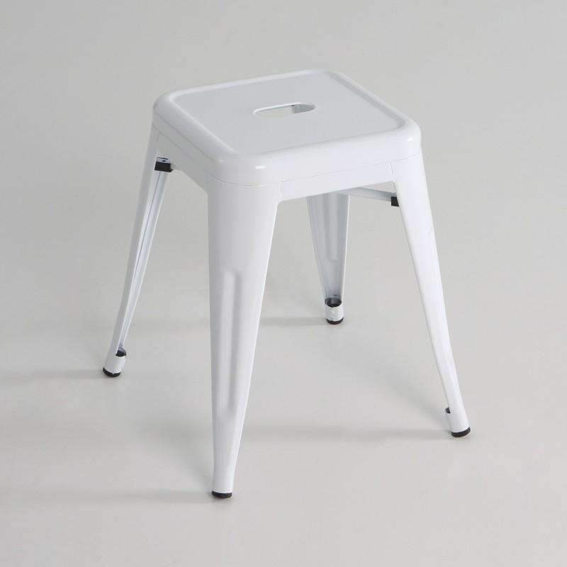 Taburete bajo  metal  color blanco