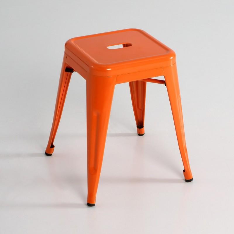 Taburete bajo  metal  color naranja