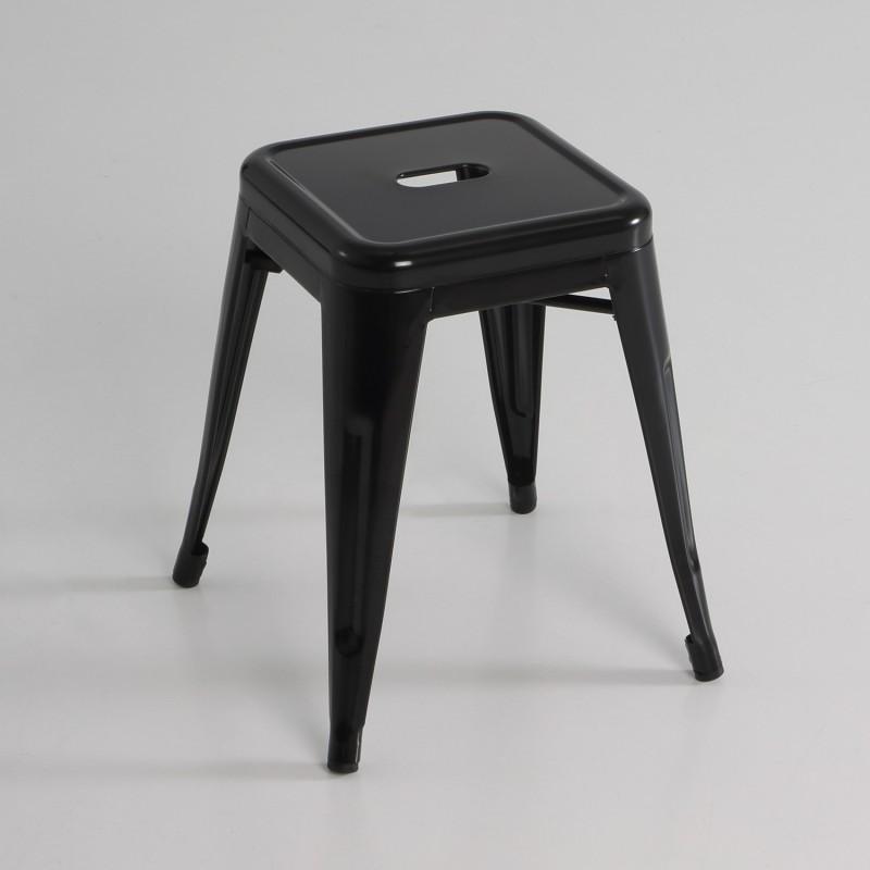 Taburete bajo metal color negro