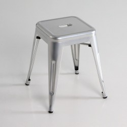 Taburete bajo  metal  color plata
