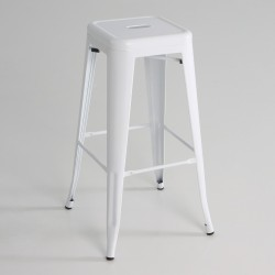 Taburete alto  metal  color blanco
